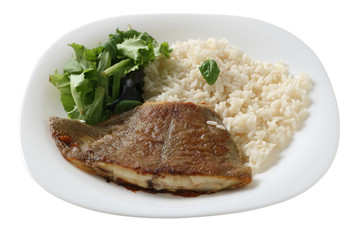 fried flounder with rice