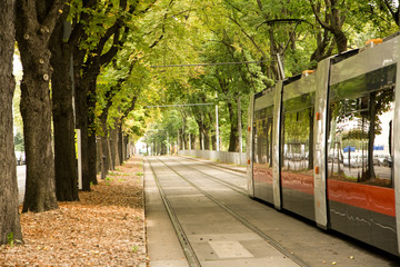 Tram at city alley