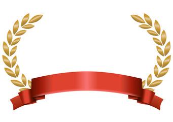 Lorbeerkranz Gold mit rotem Band unten breit