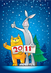 New Year greeting with hitch-hiking cat and rabbit