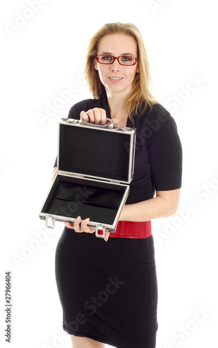 business woman holding empty briefcase