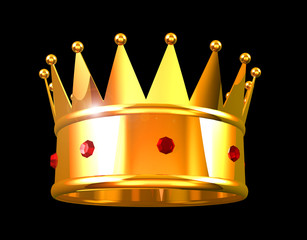 King's golden crown on black