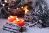 Fototapety candeline con legna e pino