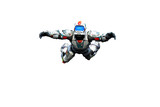 astronaut hero skydiver freestyle white background poster