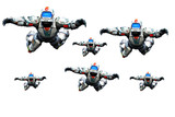 astronaut hero skydiver gang white background poster