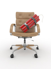 Dismissal of manager. Dynamit on office armchair