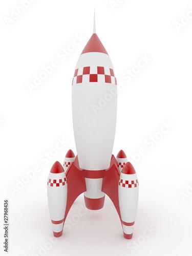Model of rocket on white isolated background