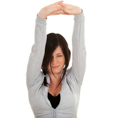 stretching young woman