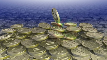 moving coins with shining flares