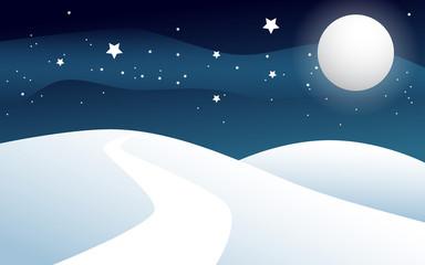 Paesaggio neve luna e stelle
