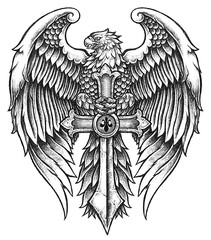 Eagle with Sword illustration