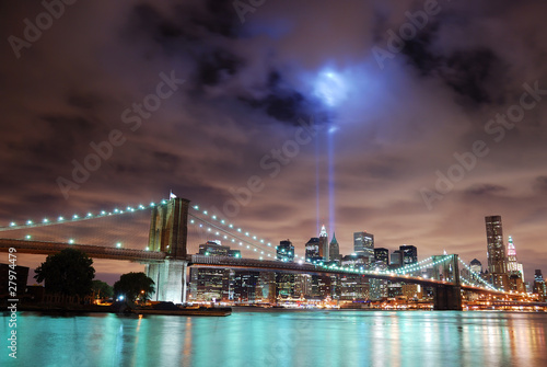 New York City skyline panorama at night