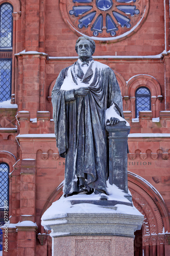 Smithson Statue After the Snow Smithsonian Castle Washington DC