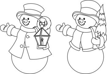 Two black and white snowmen for coloring