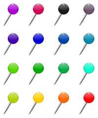 Set of office pins in different colors