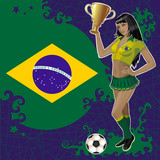 Vector football poster with girl and Brazilian flag