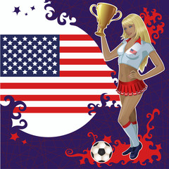Vector football poster with girl and American  flag