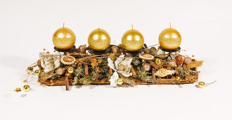 Gold advent candles