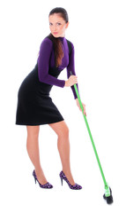 woman is cleaning up