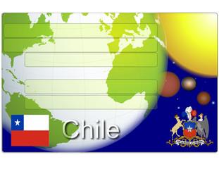 Chile business card globe flag national emblem map