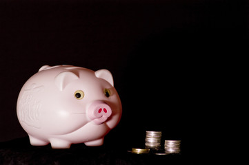 woman hand with pink piggy bank