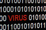 Closeup of binary code infected by computer virus. poster