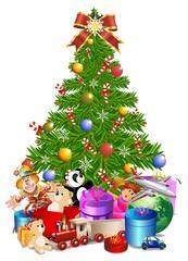 Albero Natale con Regali-Christmas Tree and Toys-Vector