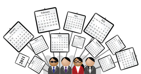 2011 calendar crowd with signs isolated white background