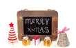 Christmas greeting on a chalkboard with decoration and gifts iso