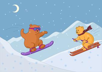 Teddy bears ski in mountains, night