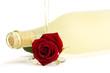 eine rote rose unter einer flasche prosecco mit einem sektglas