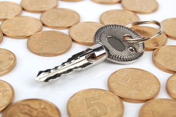 Coins and key