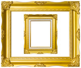 ancient style golden photo image frame isolated
