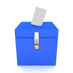 3D - Blanko Wahlurne Blau 02 - Abgeschlossen