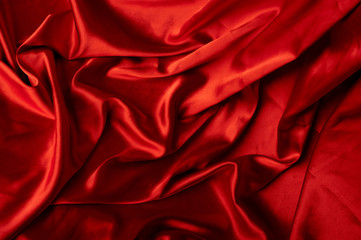 bright red holiday silk background close-up