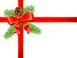 Geschenkschleife mit Tannenzweige