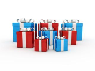cadeaux rouges et bleus