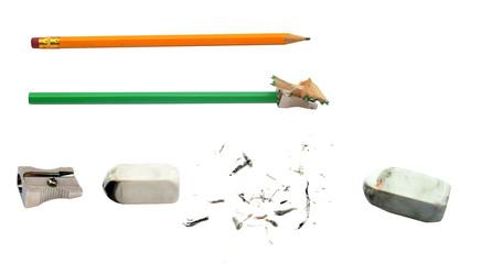 ołówek, gumka i temperówka
