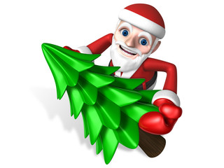 3d santa making christmas tree