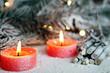 Detaily fotografie Složení se svíčkami a palivového dříví