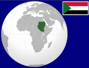 Sudan globe map locator world flag national emblem