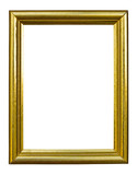 golden wood photo image frame isolated