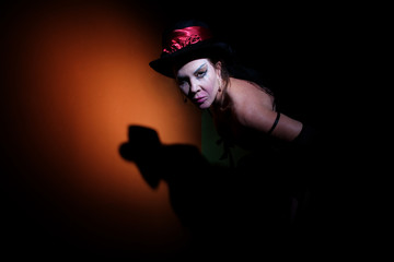 Circus lady in shadows