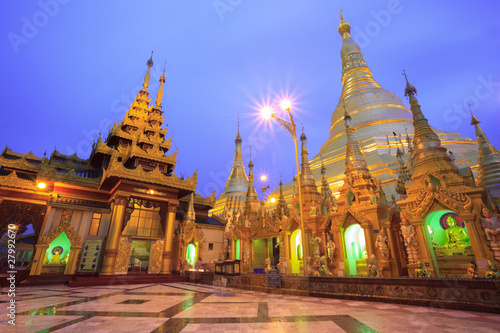 Shwedagon pagoda at twilight, Yangon,Myanmar
