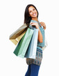Smiling brunette holding shopping bags