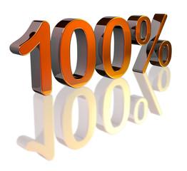 Mtallic 100% sign on reflective surface