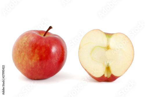 One half of apple and one whole apple