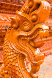ancient naga starue in thai temple