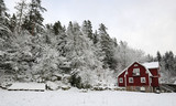 Winter country landscape in southern Sweden