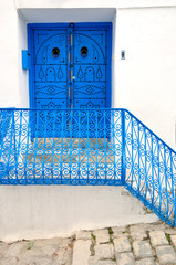 Porch and a door in Sidi Bou Said, Tunisia